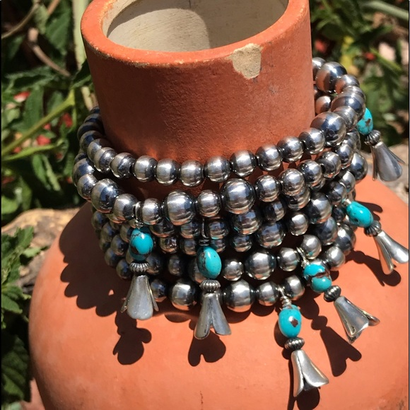 Navajo Sterling Silver Pearl Turquoise Blossom Stretch Bracelet
